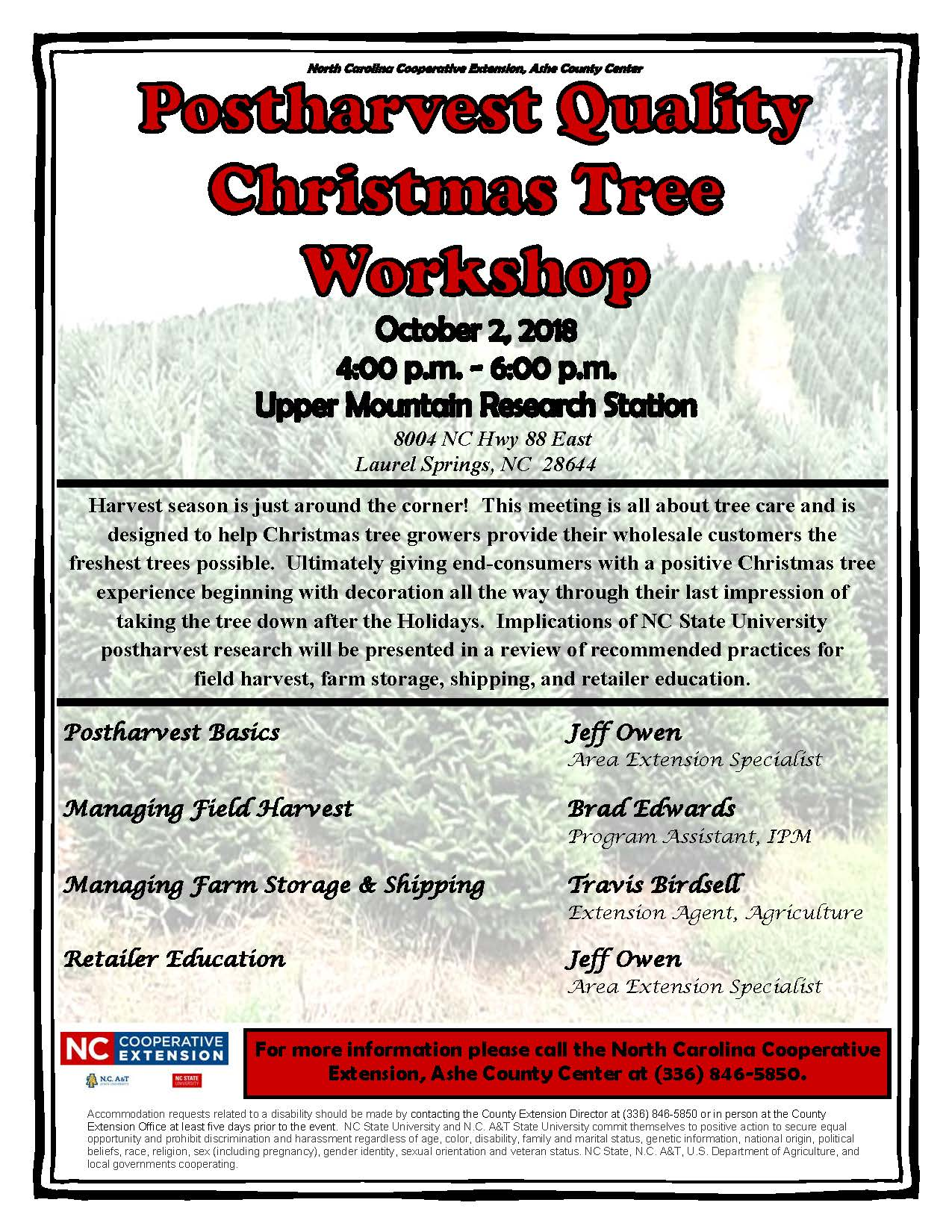 Postharvest Quality Christmas Tree Workshop flyer image