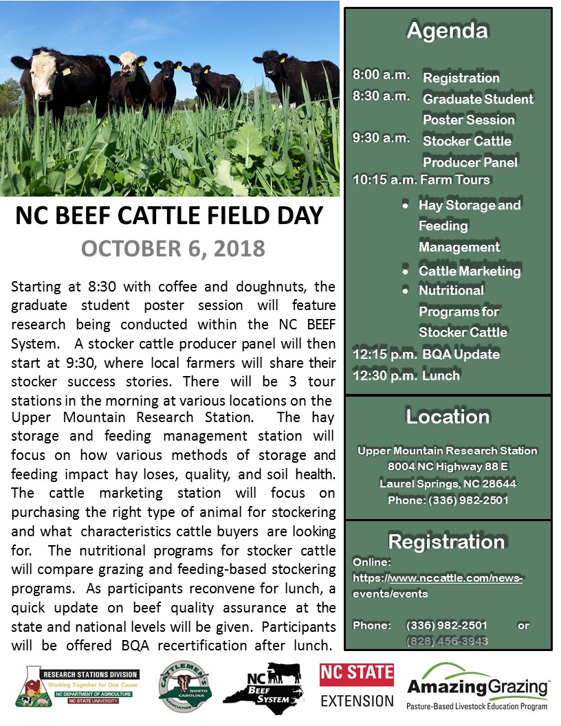 NC Beef Cattle Field Day flyer image
