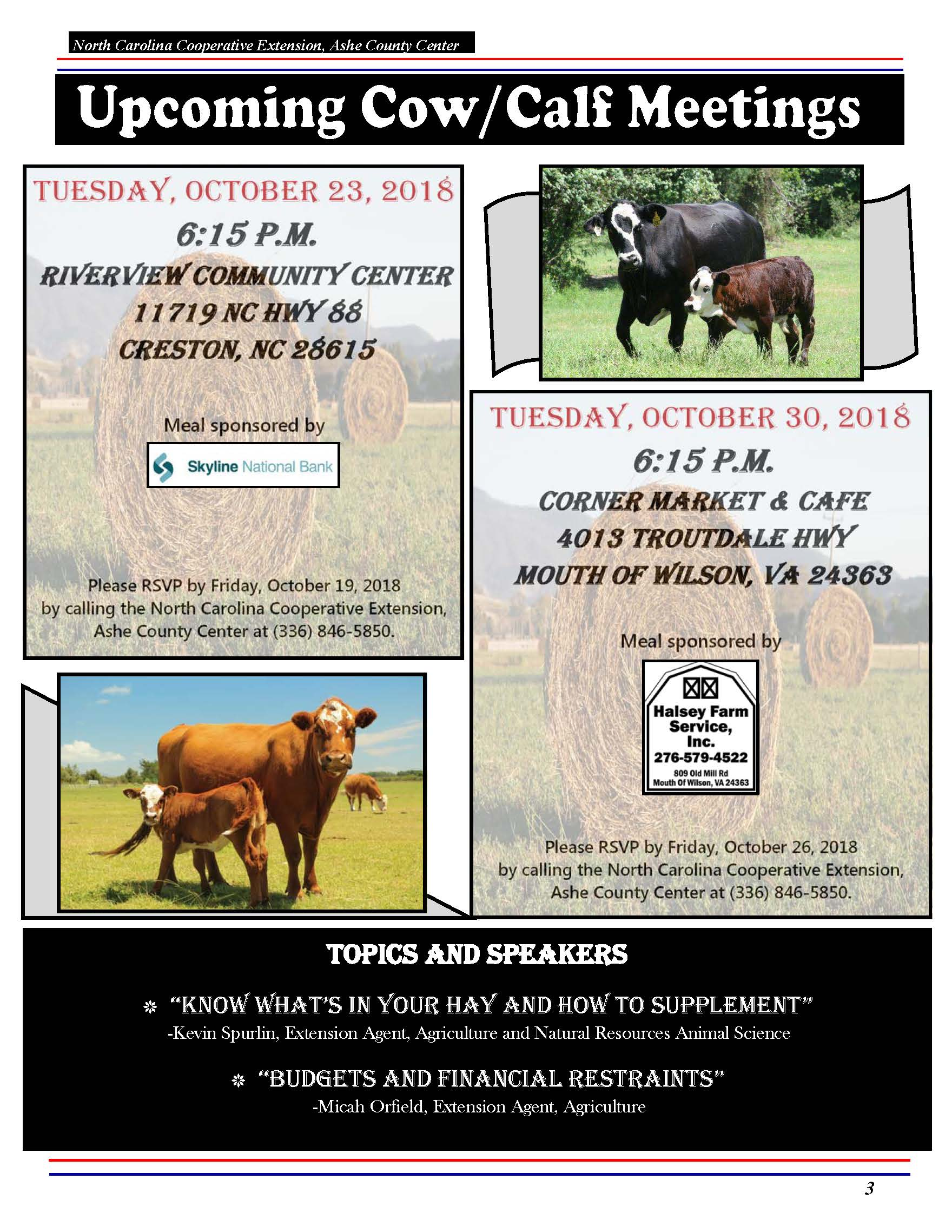 Calf & Cow Meetings flyer image