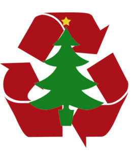 Recycling logo with Christmas tree in center