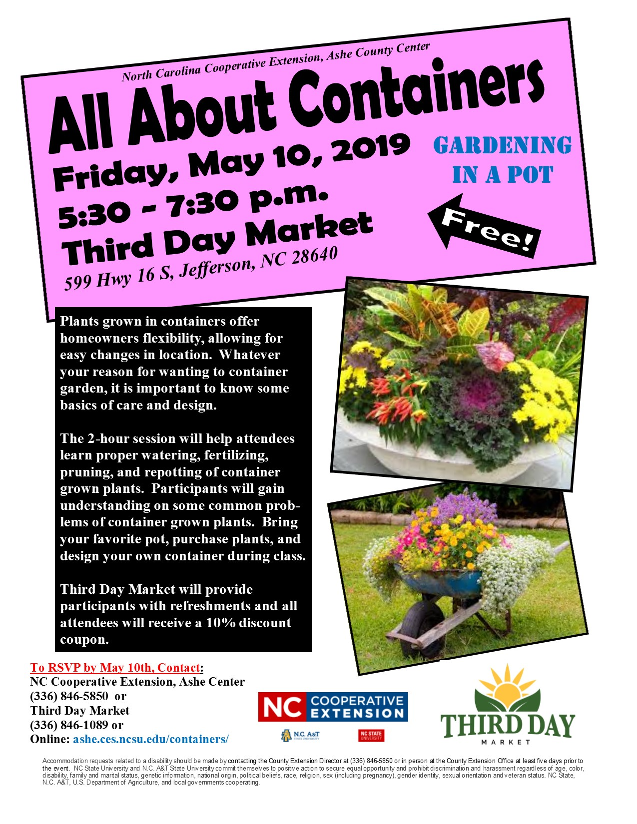 All About Containers - gardening workshop poster