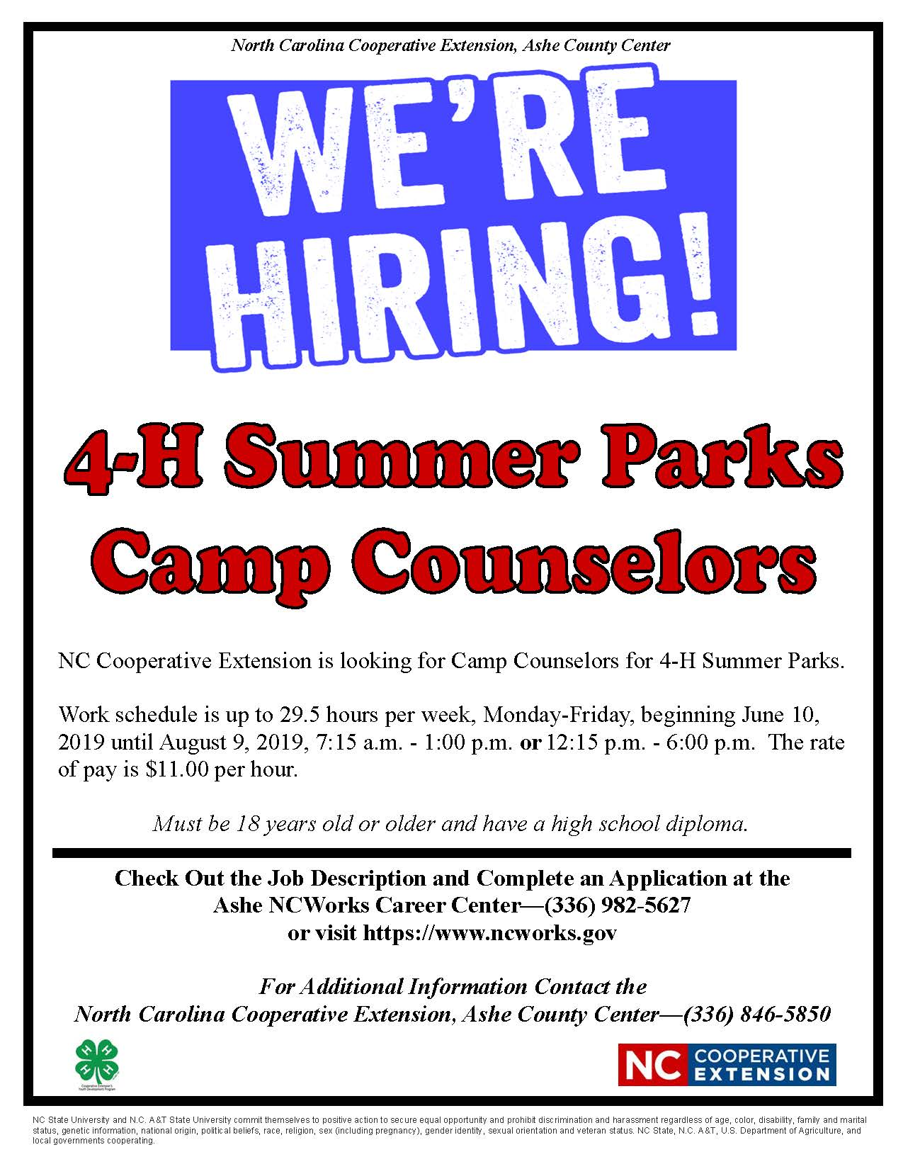 4 H Summer Parks Camp Counselor Positions Available North Carolina Cooperative Extension