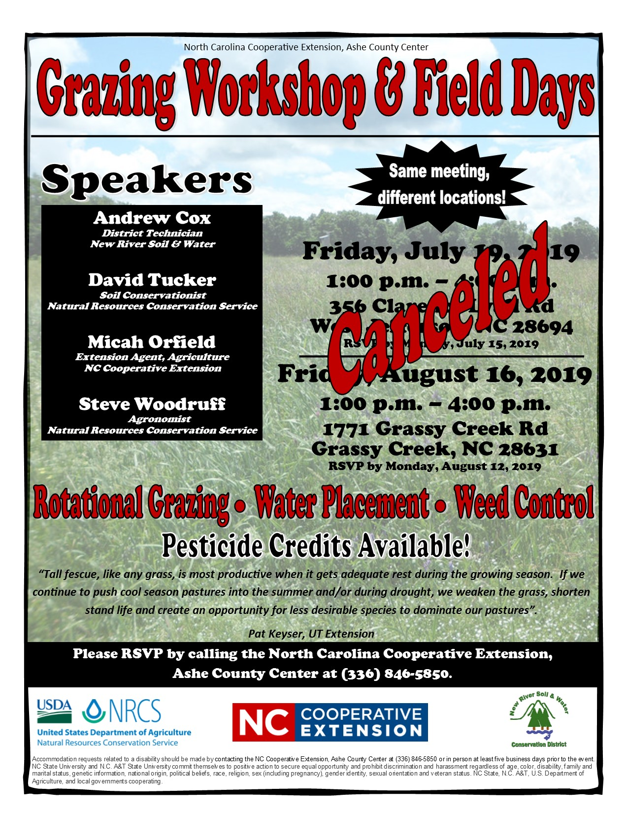 Grazing Workshop and Field Days poster