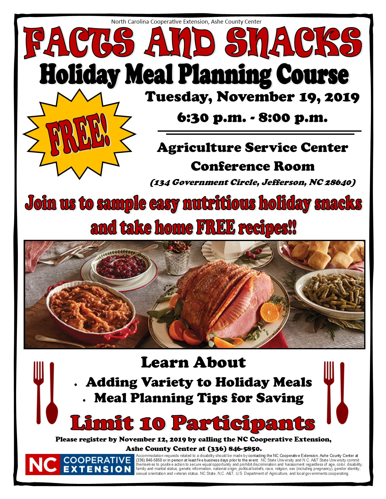 Facts and Snacks Holiday Meal Planning Course Flyer