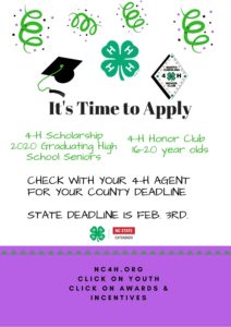 Cover photo for N.C. 4-H Scholarships & Honor Club Applications Are Posted!