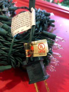 UL certified tag on Christmas lights