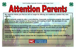 4-H Summer Parks Informational Flyer