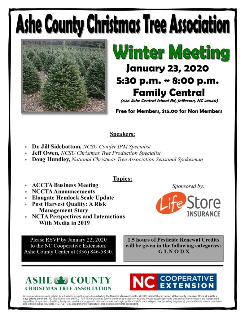 Flier for 2020 Ashe County Christmas tree Winter Meeting