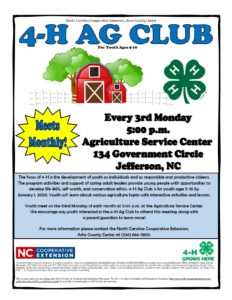 Cover photo for Postponed - Ashe County 4-H Ag Club - Postponed