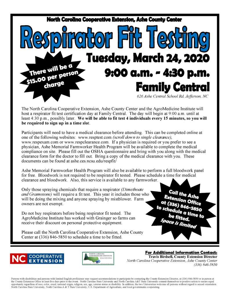 Respirator Fit Testing flyer image
