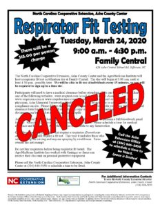 Cover photo for Canceled - Respirator Fit Testing 2020 - Canceled