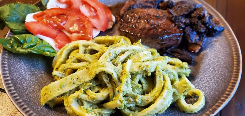 Pesto Coated Pasta
