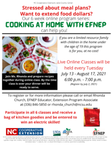 Cover photo for Cooking at Home With EFNEP
