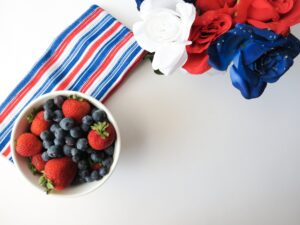 Red White and Blue - Berries, Flowers, Napkin
